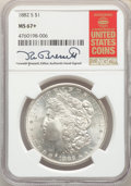 Morgan Dollars, 1882-S $1 MS67+ NGC. The NGC insert is hand-signed by longtime Guide Book editor Kenneth Bressett. NGC Census: (1763/125). ...