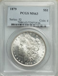 1879 $1 MS63 PCGS. PCGS Population: (5658/5998). NGC Census: (4965/5130). CDN: $80 Whsle. Bid for NGC/PCGS MS63. Mintage...