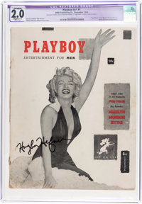 Playboy #1 Signed by Hugh Hefner (HMH Publishing, 1953) CGC Apparent GD 2.0 Slight (C-1) White pages