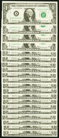 """Small Size:Federal Reserve Notes, Complete Regular Block Set ending in """"2"""" Fr. 1904-A (2); B (2); C (2); D; E (2); F (2); G (2); H (2); I; J (2); K; L; $1 1969A... (Total: 20 notes)"""