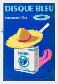 "Memorabilia:Poster, Gauloises Disque Bleu French Cigarette Advertisement Lithograph (Gilliard Printing, c. 1960s) (51"" x 39""). Artwork by ..."