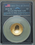 2019-W $5 Apollo 11 50th Anniversary, First Day of Issue, Earth Rising PR70 Deep Cameo PCGS. PCGS Population: (182). NGC...