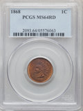 1868 1C MS64 Red PCGS. PCGS Population: (63/51). NGC Census: (13/18). CDN: $1,300 Whsle. Bid for NGC/PCGS MS64. Mintage...
