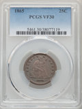 Seated Quarters, 1865 25C VF30 PCGS. PCGS Population: (12/80). NGC Census: (2/40). CDN: $330 Whsle. Bid for NGC/PCGS VF30. Mintage 58,800. ...