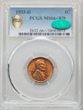 1933-D 1C MS66+ Red PCGS. CAC. PCGS Population: (456/44 and 44/3+). NGC Census: (305/38 and 2/1+). CDN: $230 Whsle. Bid...