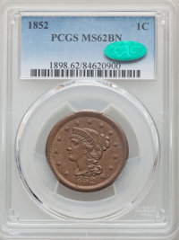 1852 1C MS62 Brown PCGS. CAC. PCGS Population: (76/545). NGC Census: (95/445). CDN: $210 Whsle. Bid for NGC/PCGS MS62. M...