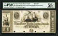 New York, NY- New-York State Stock Security Bank $100 18__ as G14 Proof PMG Choice About Unc 58 EPQ