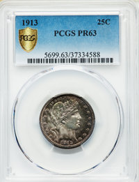 1913 25C PR63 PCGS. PCGS Population: (56/123 and 1/7+). NGC Census: (36/149 and 0/2+). CDN: $500 Whsle. Bid for NGC/PCGS...