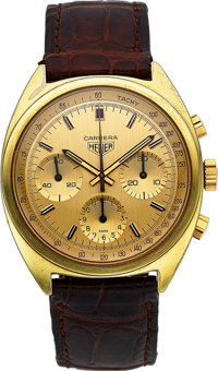 Heuer, Rare Carrera Chronograph Ref. 73655CH, Second Execution, Yellow Gold Electroplate and Stainless, Manual Wind, Cir...