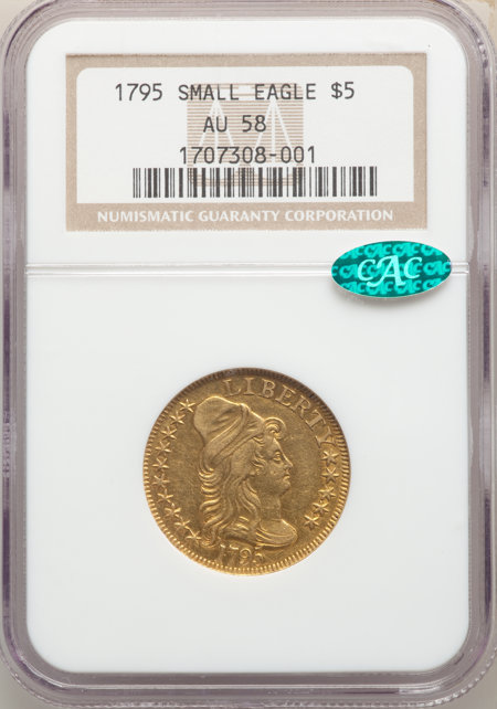 1795 $5 Small Eagle, MS CAC 58 NGC