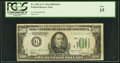Low Serial Number 204 Fr. 2201-G* $500 1934 Dark Green Seal Federal Reserve Note. PCGS Fine 15