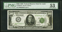 Fr. 2200-H $500 1928 Federal Reserve Note. PMG About Uncirculated 53
