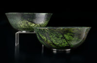 A Pair of Chinese Spinach Jade Bowls 3-5/8 x 9-1/4 inches (9.2 x 23.5 cm) (each)