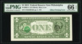 Error Notes:Offsets, Third Printing Offset on Back Error Fr. 3001-C $1 2013 Federal Reserve Note. PMG Gem Uncirculated 66 EPQ.. ...
