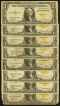 Fr. 2306 $1 1935A North Africa Silver Certificates. Eight Examples. Very Good or Better. ... (Total: 8 notes)