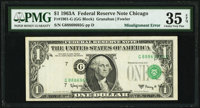 Shifted Third Printing Error Fr. 1901-G $1 1963A Federal Reserve Note. PMG Choice Very Fine 35 EPQ