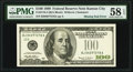 Error Notes:Inking Errors, Missing Green Seal Fr. 2176-J $100 1999 Federal Reserve Note. PMG Choice About Unc 58 EPQ.. ...