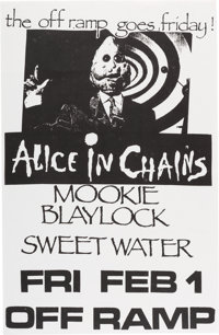 "Alice in Chains/Mookie Blaylock/Sweetwater 11"" x 17"" Off Ramp Concert Poster (1991)"