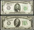 Fr. 1956-J $5 1934 Dark Green Seal Mule Federal Reserve Note. Choice Crisp Uncirculated; Fr. 2006-J $10 1934A F