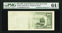 Insufficient Inking of Back Printing Error Fr. 2077-B $20 1990 Federal Reserve Note. PMG Choice Uncirculated 64 EPQ
