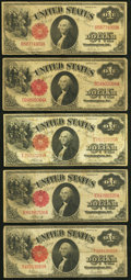 Large Size:Legal Tender Notes, Fr. 36 $1 1917 Legal Tender Two Examples Very Good or Better;. Fr. 37 $1 1917 Legal Tender Two Examples Very Good or Bette... (Total: 5 notes)