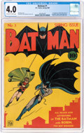 Golden Age (1938-1955):Superhero, Batman #1 (DC, 1940) CGC VG 4.0 Off-white to white pages....