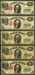 Fr. 36 $1 1917 Legal Tender Two Examples Very Good-Fine or Better; Fr. 37 $1 1917 Legal Tender Three Examples Very Good...