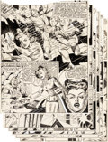 """Original Comic Art:Complete Story, Al Bryant Champ Comics #23 Complete 8-Page Story """"Conditions In Army Camp Appalling!"""" Original Art (Harvey, 1942).... (Total: 8 Original Art)"""