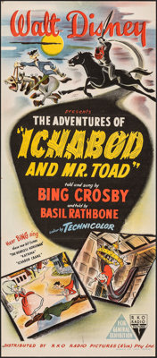 "The Adventures of Ichabod and Mr. Toad (RKO, 1951). Folded, Near Mint. Full-Bleed Australian Daybill (13"" X 30""..."