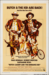 "Butch Cassidy and the Sundance Kid (20th Century Fox, R-1973). Folded, Fine+. One Sheet (27"" X 41""). Western..."