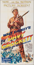 "Movie Posters:Western, Davy Crockett, King of the Wild Frontier (Buena Vista, 1955). Folded, Very Fine-. Three Sheet (41"" X 79""). Western.. ..."