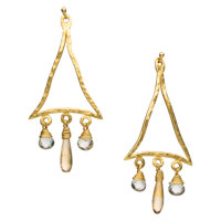 Quartz, Gold Earrings