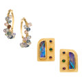 Estate Jewelry:Earrings, Multi-Stone, Gold Earrings. ... (Total: 2 Items)