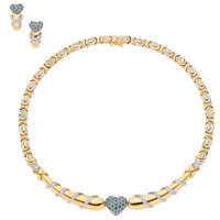 Diamond, Synthetic Sapphire, Gold Jewelry Suite