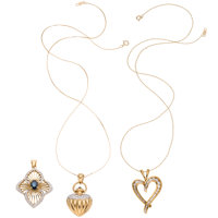 Diamond, Sapphire, Gold Pendant-Necklaces ... (Total: 3 Items)