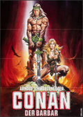 "Movie Posters:Action, Conan the Barbarian (Constantin, 1982). Folded, Very Fine-. German A0 (33"" X 46.5""). Teaser, Renato Casaro Artwork. Action...."