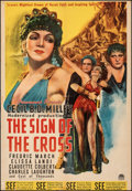"""Movie Posters:Drama, The Sign of the Cross (Paramount, R-1944). Fine on Linen. Trimmed One Sheet (27.25"""" X 39.5""""). Drama.. ..."""