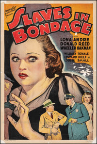 """Slaves in Bondage (Roadshow Attractions, 1937). Good+ on Linen. One Sheet (27"""" X 40.5""""). Crime"""