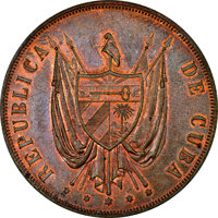 Cuba: Provisional Republic copper Proof Pattern Peso 1870 P-CT PR62 Red and Brown NGC