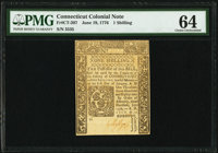 Connecticut June 19, 1776 1s PMG Choice Uncirculated 64