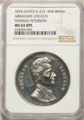 1870 Abraham Lincoln Medal, Presented to Thomas Peterson First Black Voter, MS63 Deep Mirror Prooflike NGC. King-233, De...