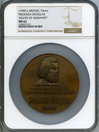 """1990 Frederick Douglas """"Rights of Humanity"""" Medal MS63 NGC. Bronze, 75mm"""