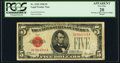 Fr. 1525 $5 1928 Legal Tender Note. D-A Block. PCGS Apparent Very Fine 20