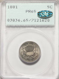 1881 5C PR65 PCGS. Gold CAC. PCGS Population: 308 in 65 (2 in 65+), 196 finer. Gold CAC: 2 in 65, 1 finer (2/20). NGC Ce...