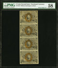Fractional Currency:Second Issue, Fr. 1232 5¢ Second Issue Uncut Strip of Four PMG Choice About Unc 58.. ...