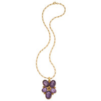 Amethyst, Gold Pendant-Necklace
