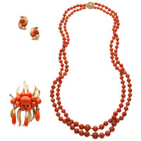 Coral, Gold Jewelry ... (Total: 3 Items)