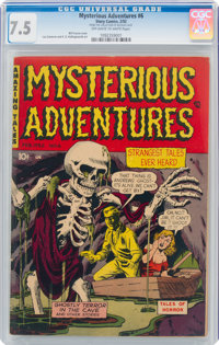 Mysterious Adventures #6 (Story Comics, 1952) CGC VF- 7.5 Off-white to white pages