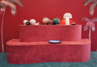 Jonathan Hansen (American, 20th/21st Century) Two Display Tables for the Haas Brothers, 2019 Crushed velvet, plywood...