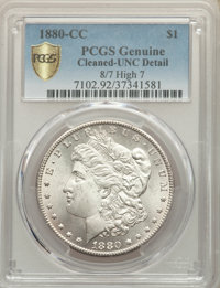 1880-CC $1 8 Over High 7 -- Cleaned -- PCGS Genuine. Unc Details....(PCGS# 7102)